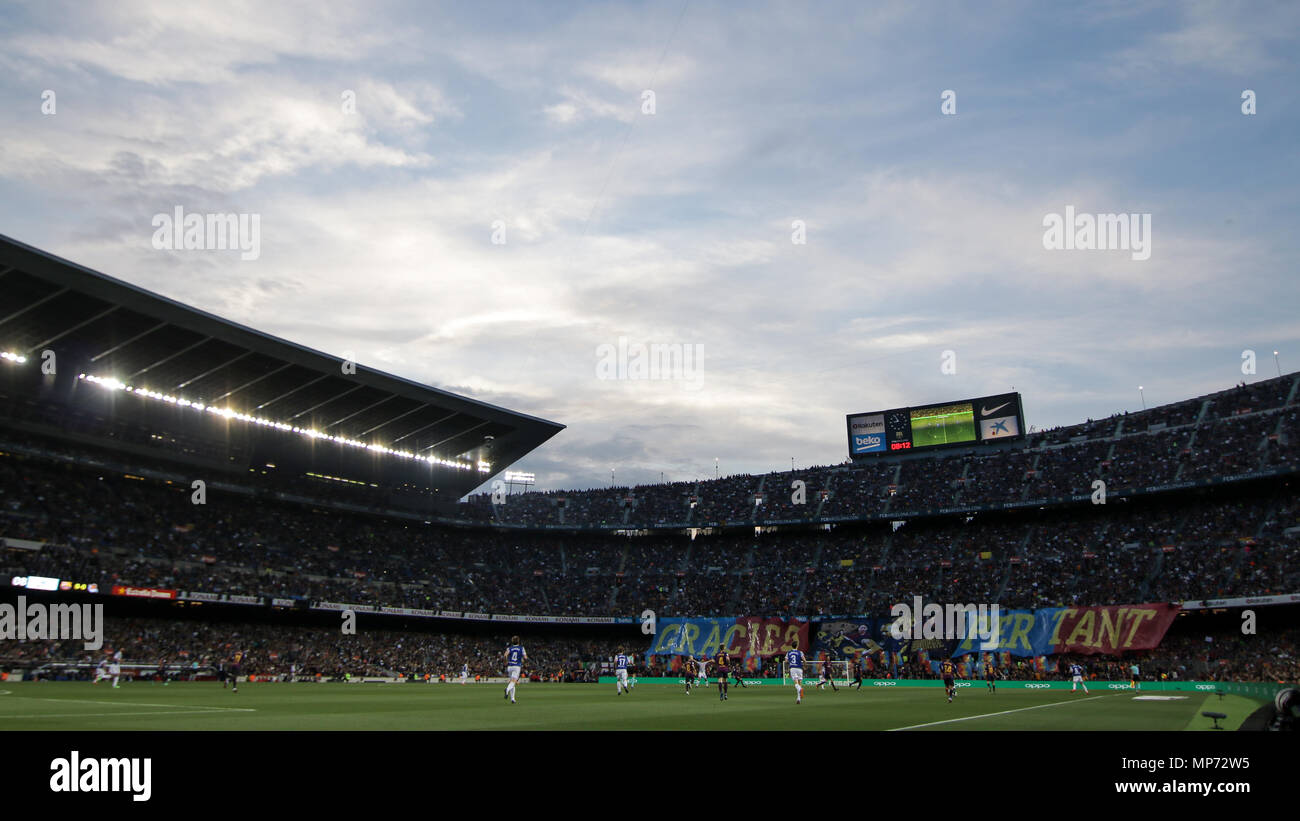 Barcelona, 20th May:  Camp Nou stadium during the 2017/2018 LaLiga Santander Round 38 game between FC Barcelona and Real Sociedad at Camp Nou on May 20, 2018 in Barcelona, Spain. - Stock Image