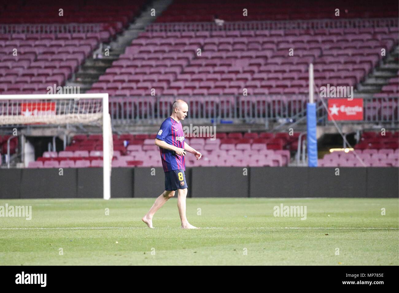 SPAIN - 21th of May: Andres Iniesta alone in the grass after  the match between FC Barcelona against Real Sociedad for the round 38 of the Liga Santander, played at Camp Nou Stadium on 21th May 2018 in Barcelona, Spain. (Credit: Mikel Trigueros /Urbanandsport / Cordon Press)  Cordon Press - Stock Image