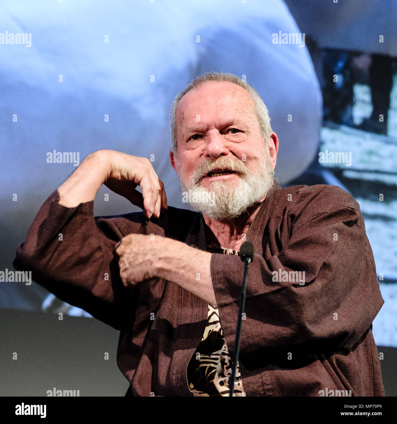 London, UK. 21st May, 2018. Terry Gilliam appears on Mark Kermode Live in 3D on Monday 21 May 2018 held at BFI Southbank, London. Pictured: Terry Gilliam. Credit: Julie Edwards/Alamy Live News - Stock Image