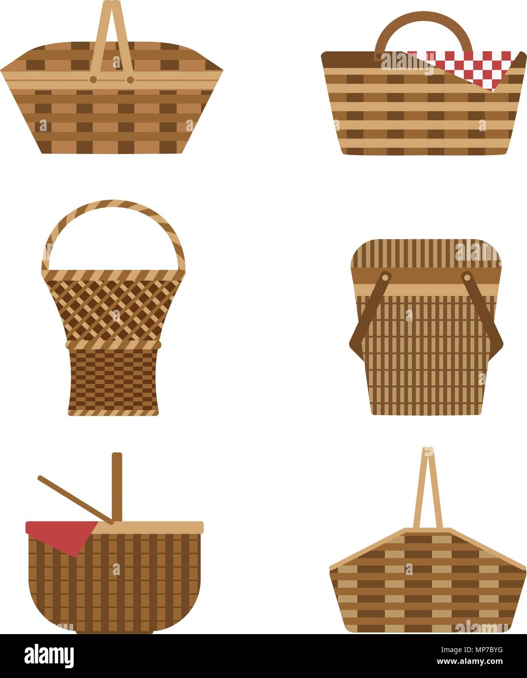 Wicker Picnic Baskets Set - Stock Vector