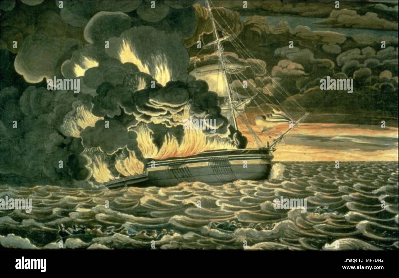 . English: The Burning of the packet ship Boston in 1830.The 428 ton packet ship 'Boston' was built at Medford in 1828, by Thacher Magoun for the Boston & Liverpool Line. The Boston agent was George G. Jones; the Liverpool agent was Latham & Gair. Sailings were scheduled thus: from Boston the 1st of each month; from Liverpool the 20th of each month. This packet line was originally organized to provide direct sailings between Boston and Liverpool. This plan was hampered by lack of high-value cargos for the eastward passage, an advantage held by New York packets which shipped high value farm pro Stock Photo