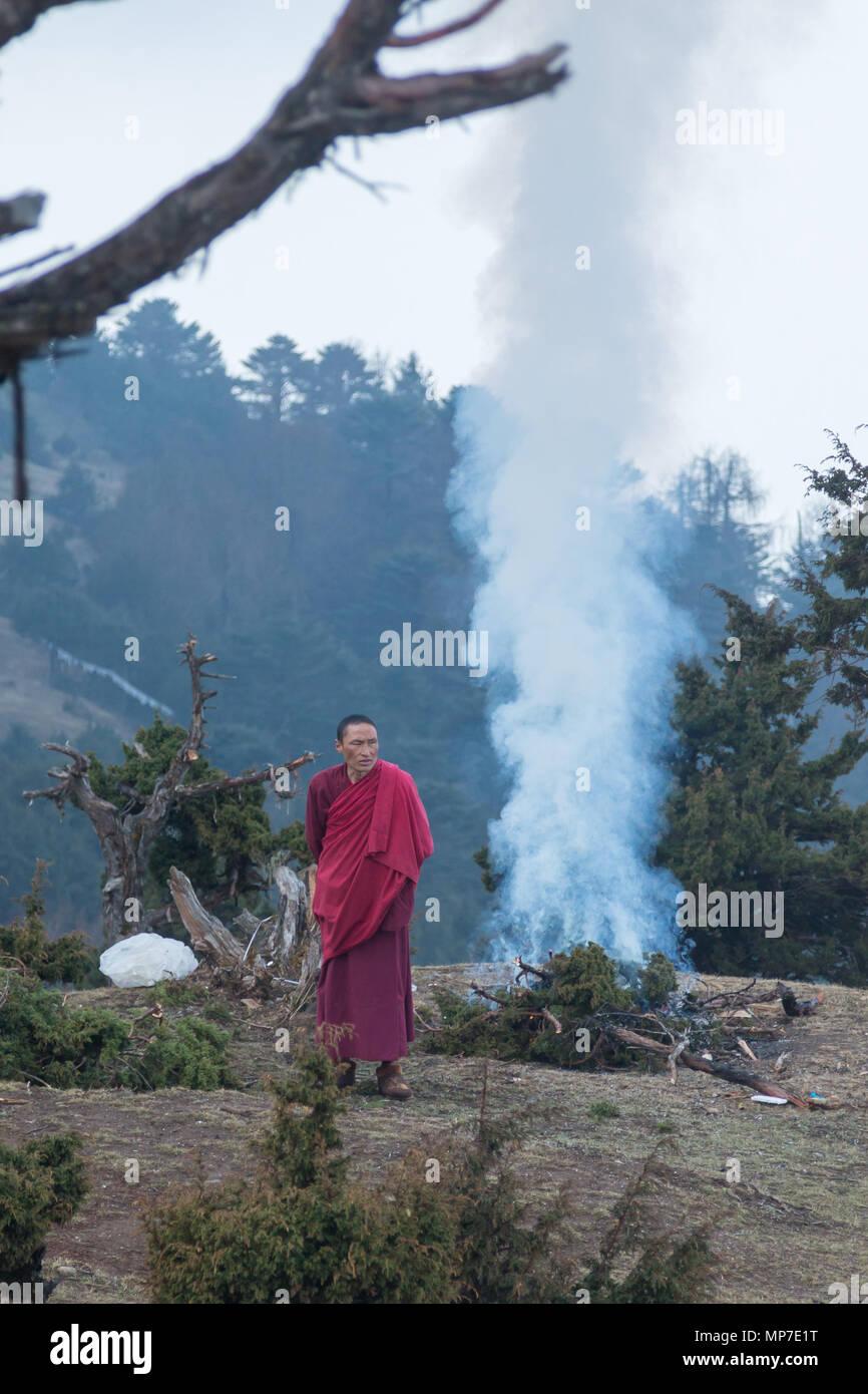 Monks performing a cleansing ritual near Paro, Bhutan - Stock Image
