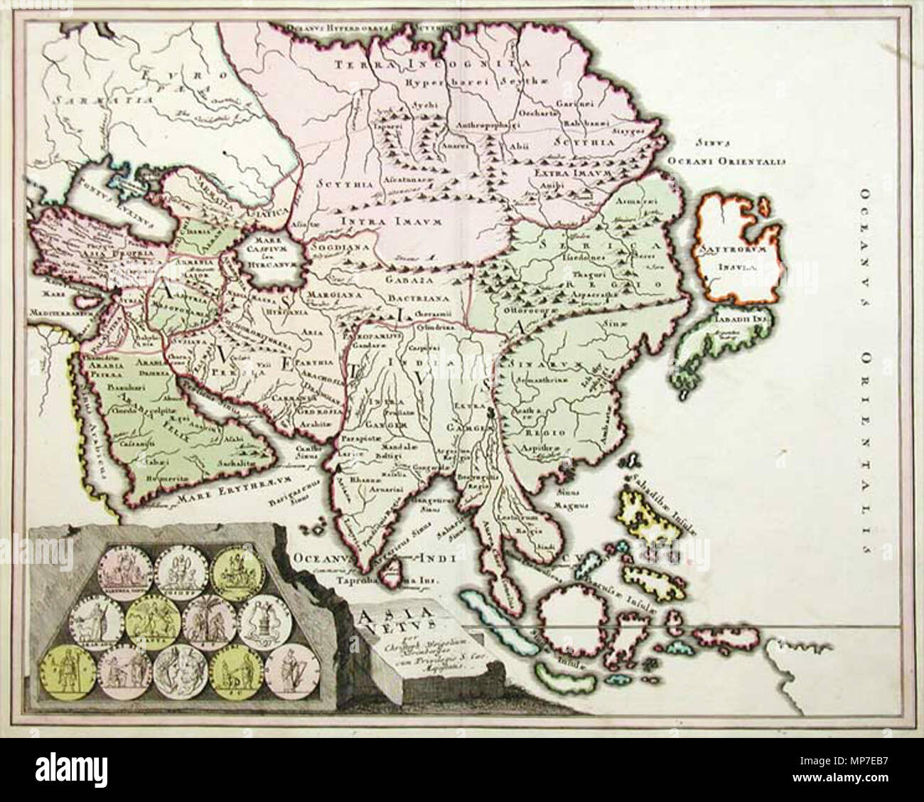 . English: 'Old Asia' (Asia Vetus) by Christoph Weigel, Nuremberg, 1719. 1719 map of Asia with Ptolemaic placenames. Copper engraving, with depictions of twelve antique coins in the bottom left corner. 1719.   Christoph Weigel the Elder (1654–1725)   Alternative names Christoph Weigel der Ältere  Description German engraver and publisher  Date of birth/death 9 November 1654 5 February 1725  Location of birth/death Marktredwitz Nuremberg  Work location Nuremberg  Authority control  : Q100116 VIAF:12366914 ISNI:0000 0001 0870 4350 ULAN:500043269 LCCN:n2008066461 NLA:36586258 WorldCat 673 - Stock Image