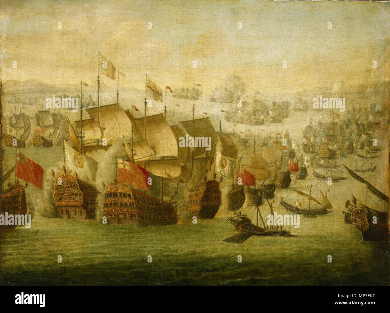 English: The Battle of Malaga, 13 August 1704 circa 1704. 674 Isaac  Sailmaker - The Battle of Malaga, 13 August 1704