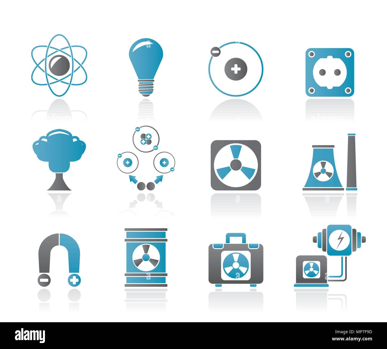 Atomic and Nuclear Energy Icons - vector icon set - Stock Vector