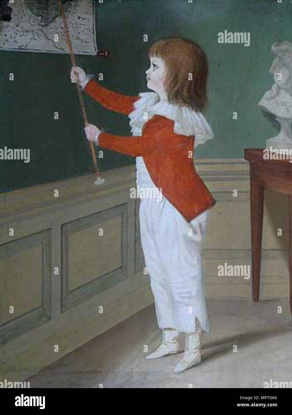 English: Little boy in a white dress and red blaser point