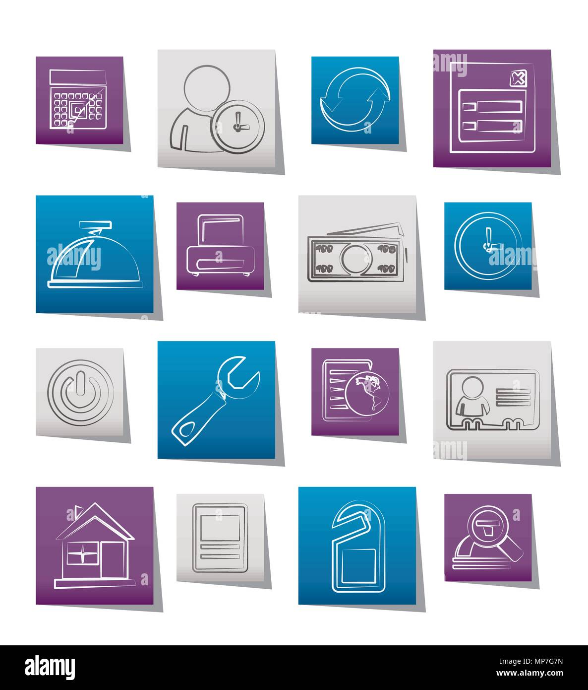 Reservation and hotel icons - vector icon set - Stock Vector