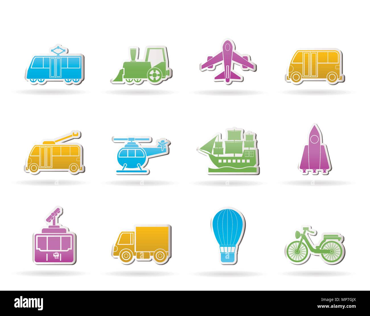 Travel and transportation icons - vector icon set - Stock Image