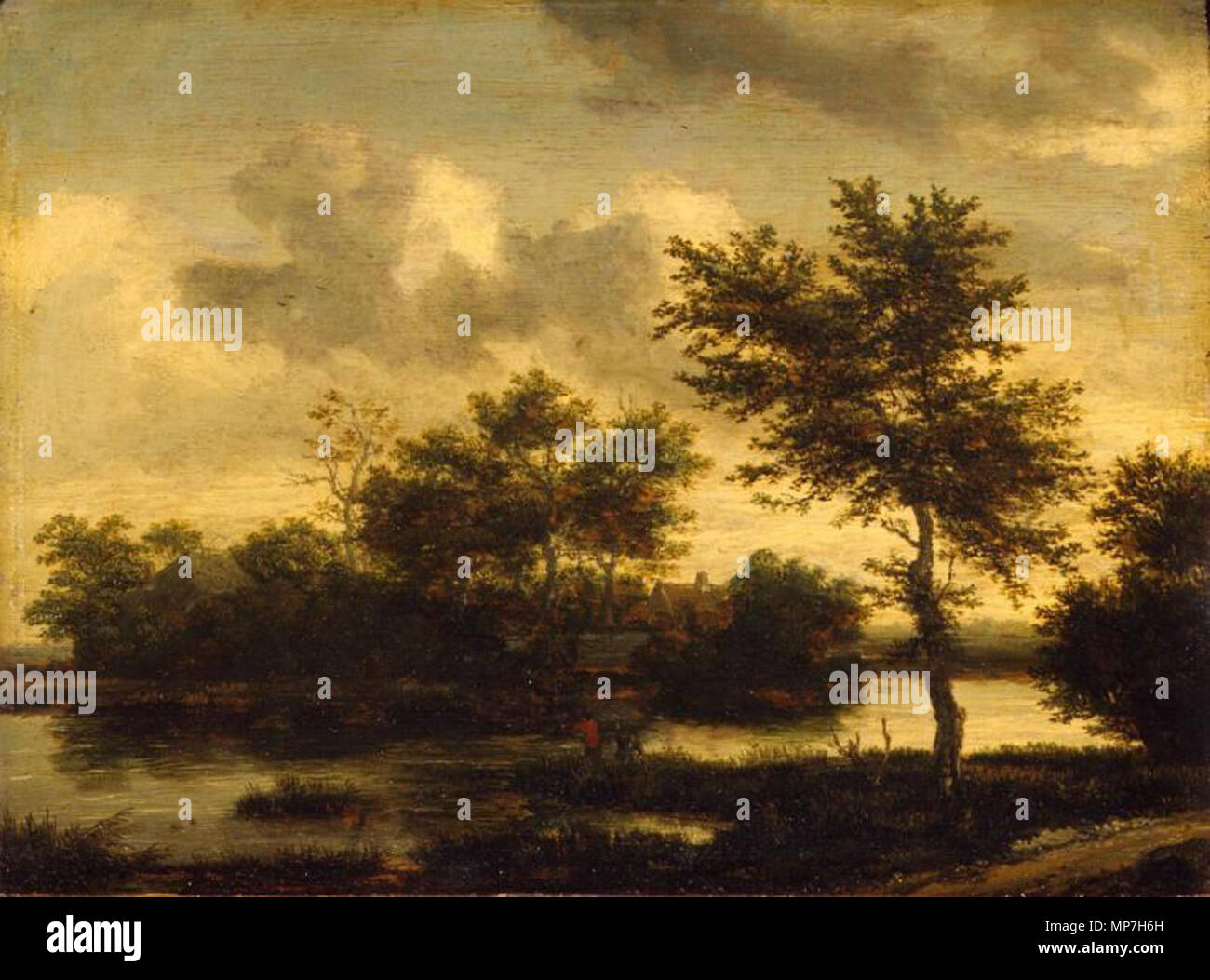 A river landscape with figures. English: River Landscape This object ...