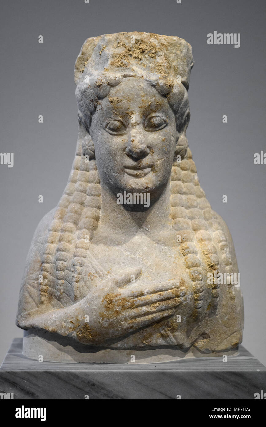 Berlin. Germany. Upper Body of a Girl Statue, from Chalkedon (modern day Kadiköy, Turkey), marble, around 550 BC. Altes Museum.  Oberkorper einer Madc - Stock Image