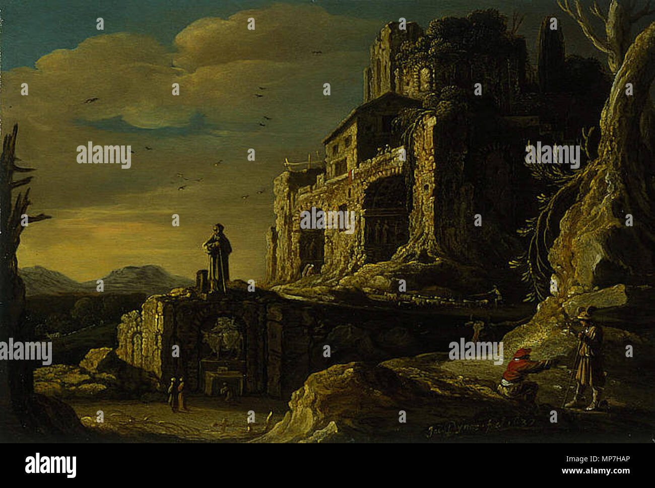 """Landscape with Hermes and Battus. from Ovid's """"Metamorphoses"""" . 1637.   685 Jacob-Pynas- - Stock Image"""