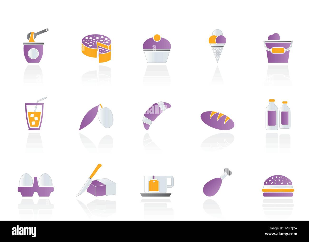 Dairy Products - Food and Drink icons - vector icon set - Stock Image
