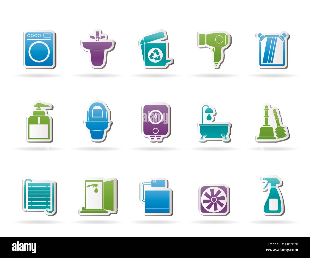 Bathroom And Toilet Objects And Icons Vector Icon Set Stock Vector