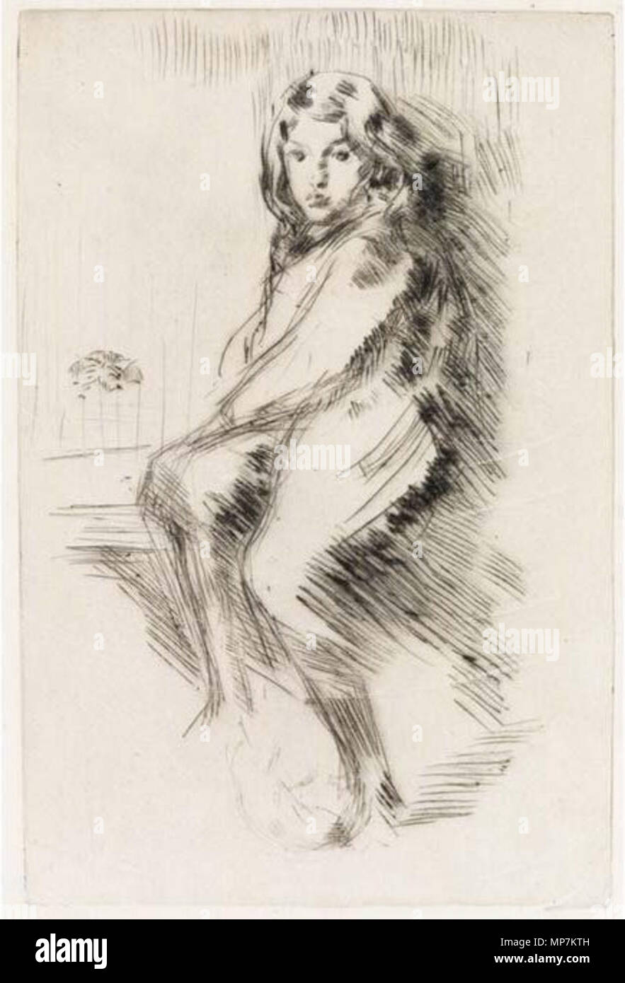 . James Whistler - The Boy (Charlie Hanson), 1875-76. Drypoint, .jpg . between 1875 and 1876. This file is lacking author information. 694 James Whistler - The Boy (Charlie Hanson), 1875-76. Drypoint - Stock Image