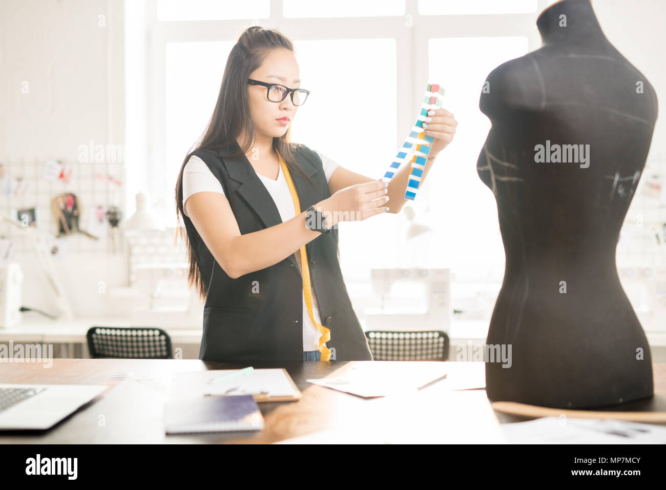 Asian Woman Working in Atelier - Stock Image
