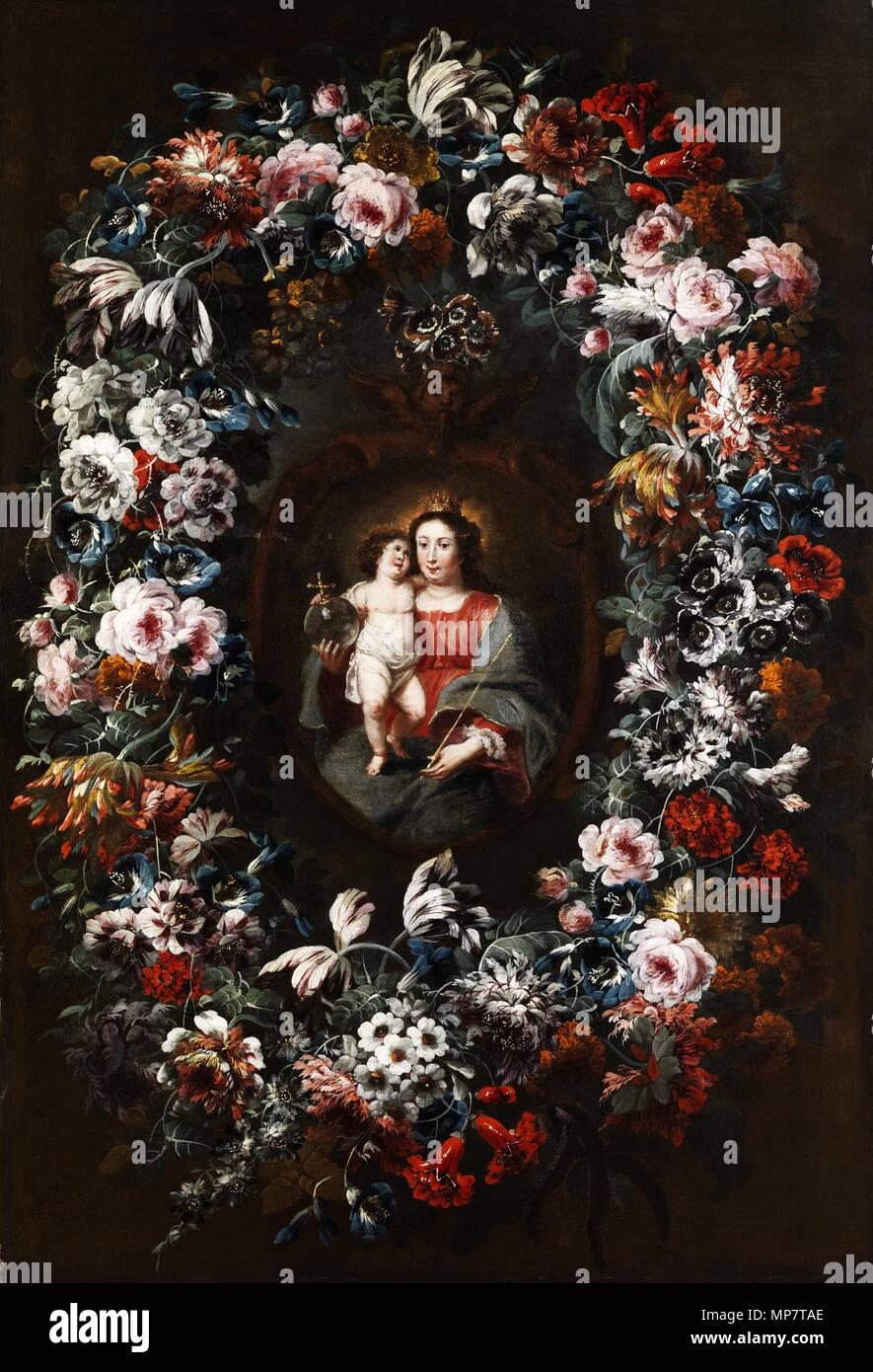 English: Virgin with Child in a large flower garland Deutsch ...