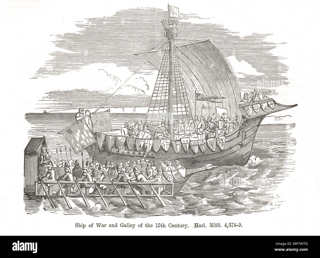 Ship of war and a Galley of the 15th Century - Stock Image