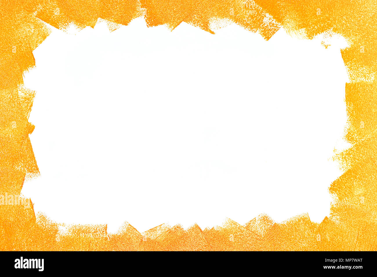 strokes of orange paint roller on white wall. frame, copy space ...