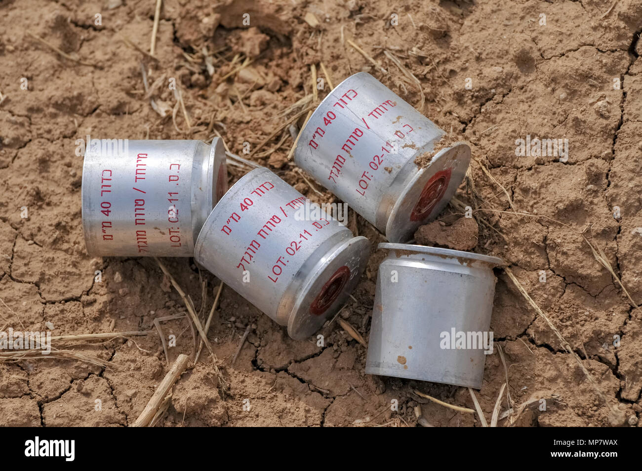 Tear gas canisters used by the Israeli Defence Force (IDF). Photographed on the Israeli Gaza border - Stock Image
