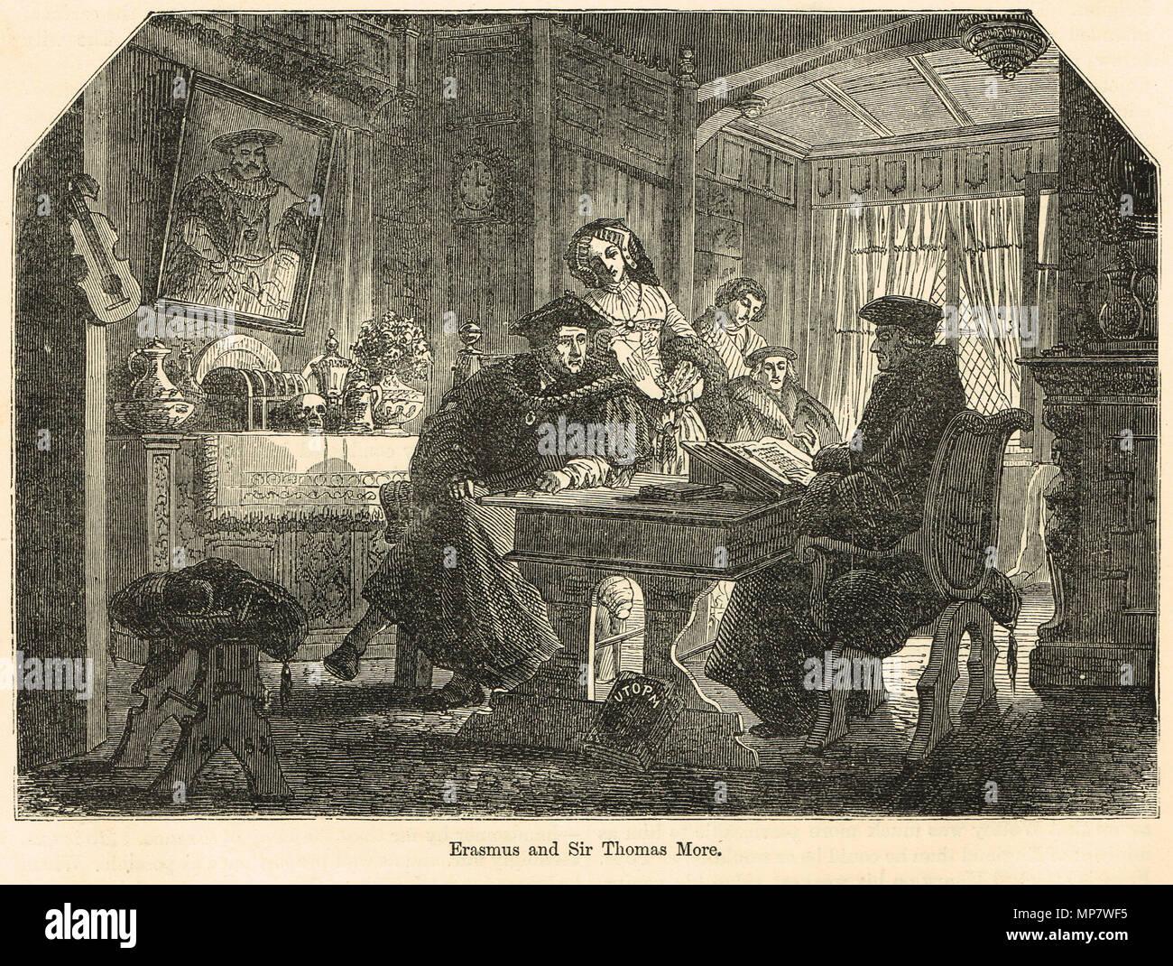 Meeting of Erasmus and Sir Thomas Moore - Stock Image