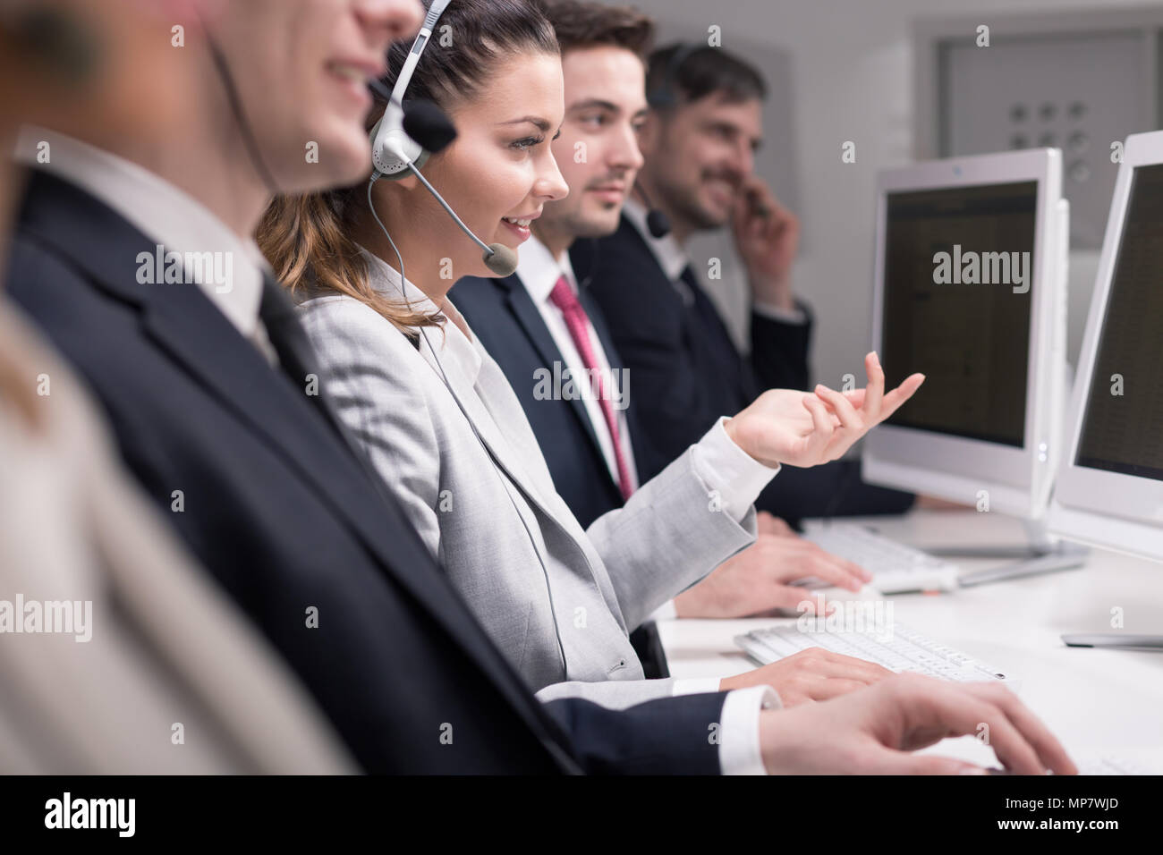Cropped shot of helpline workers Stock Photo