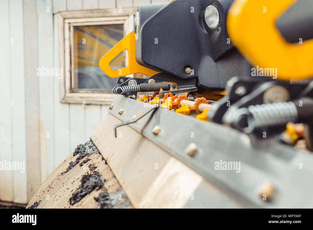 asphalt laying machines Stock Photo