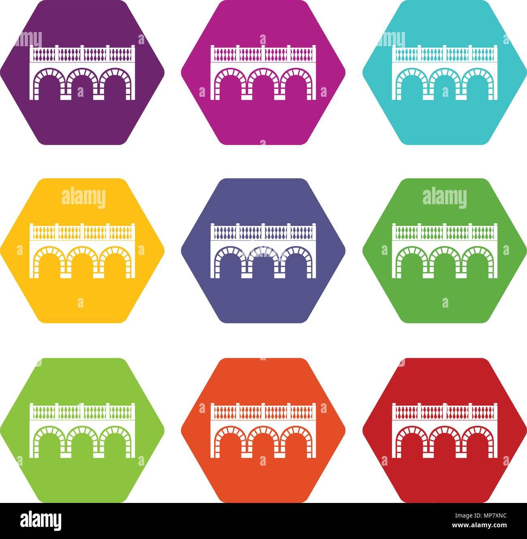 Arch bridge icons set 9 vector - Stock Image