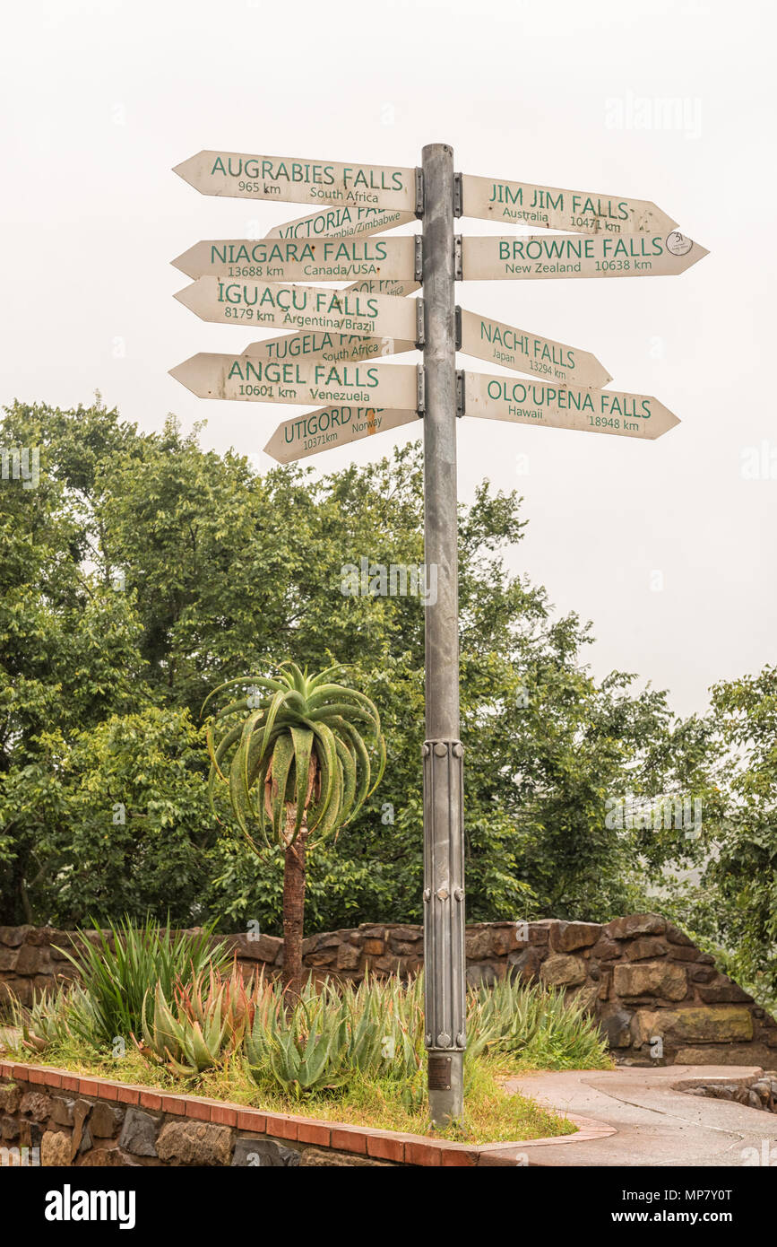 A signpost, showing the distances to famous waterfall of the world, at the Howick Falls, in Howick, in the Kwazulu-Natal Midlands Meander Stock Photo