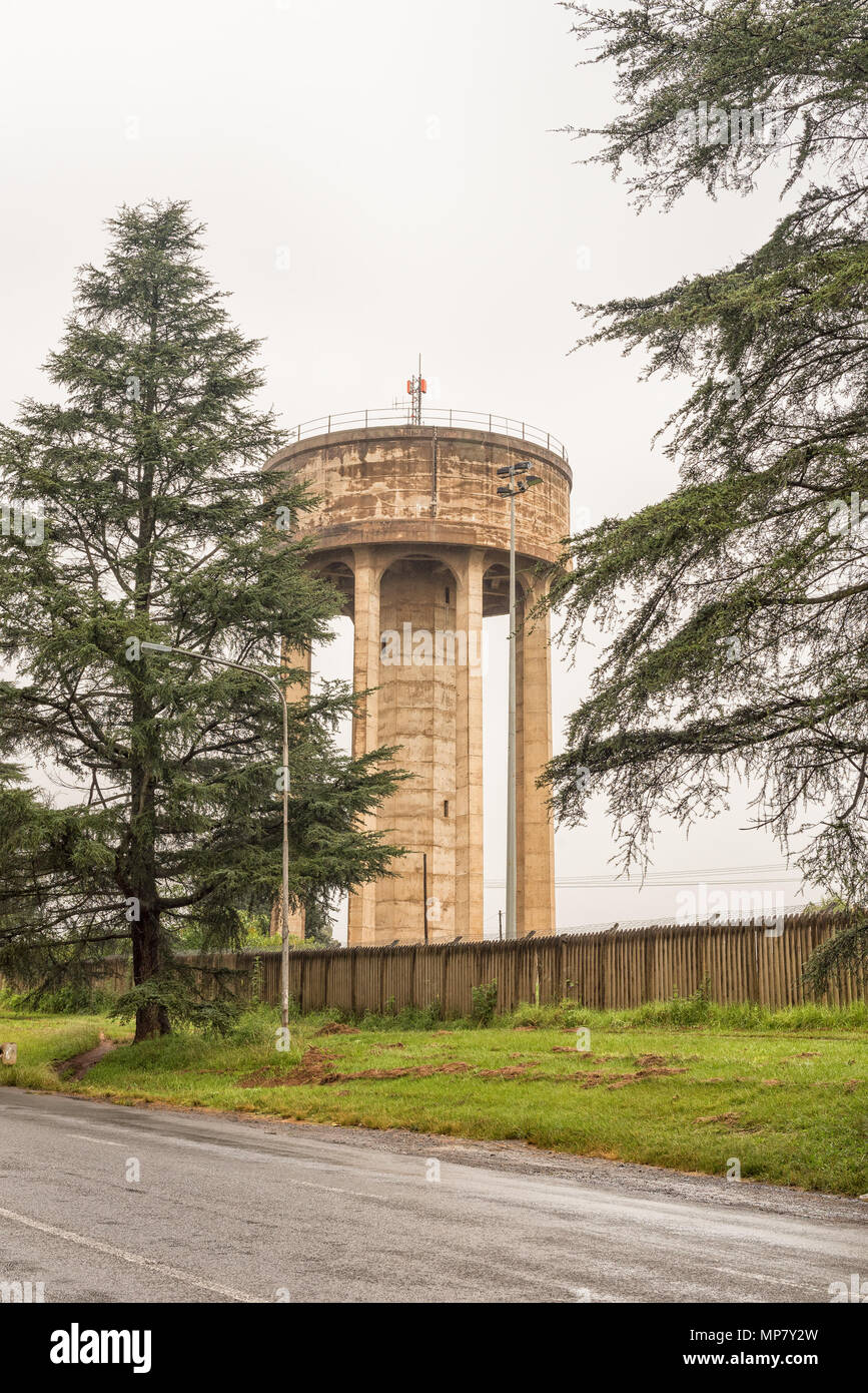 A concrete water reservoir tower in Howick in the Kwazulu-Natal Midlands Meander of South Africa Stock Photo