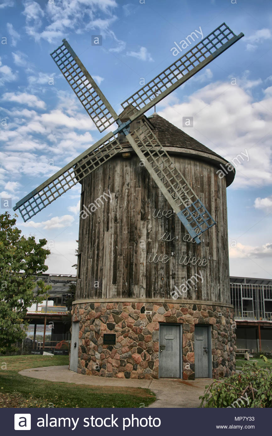 Old Sandwich Windmill in Windsor, Ontario, Canada. The windmill is a replica of the working Grist Mill that once occupied this site. Stock Photo