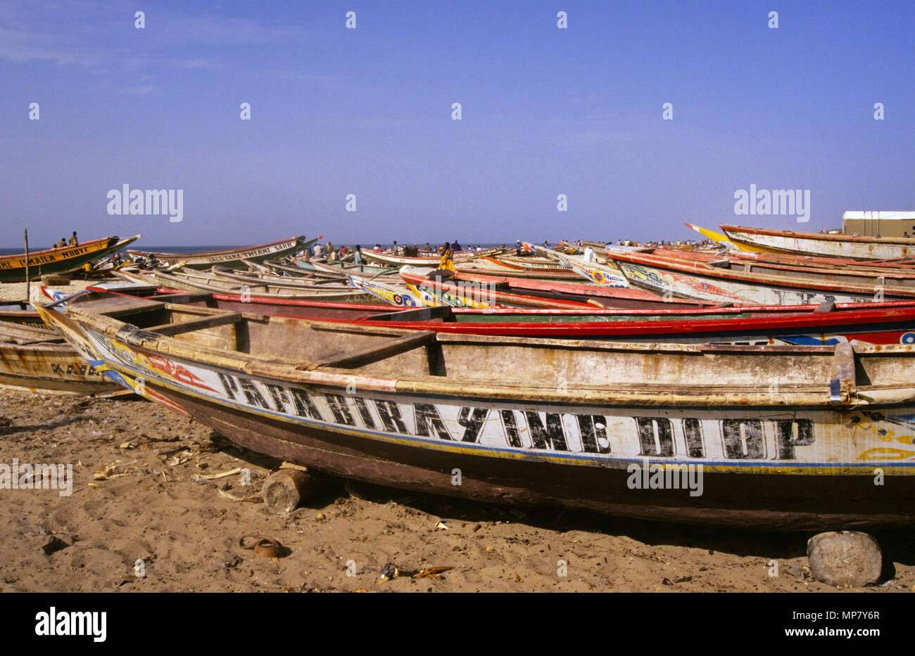 traditional fishing boats on beach, Kayar, Senegal Stock Photo