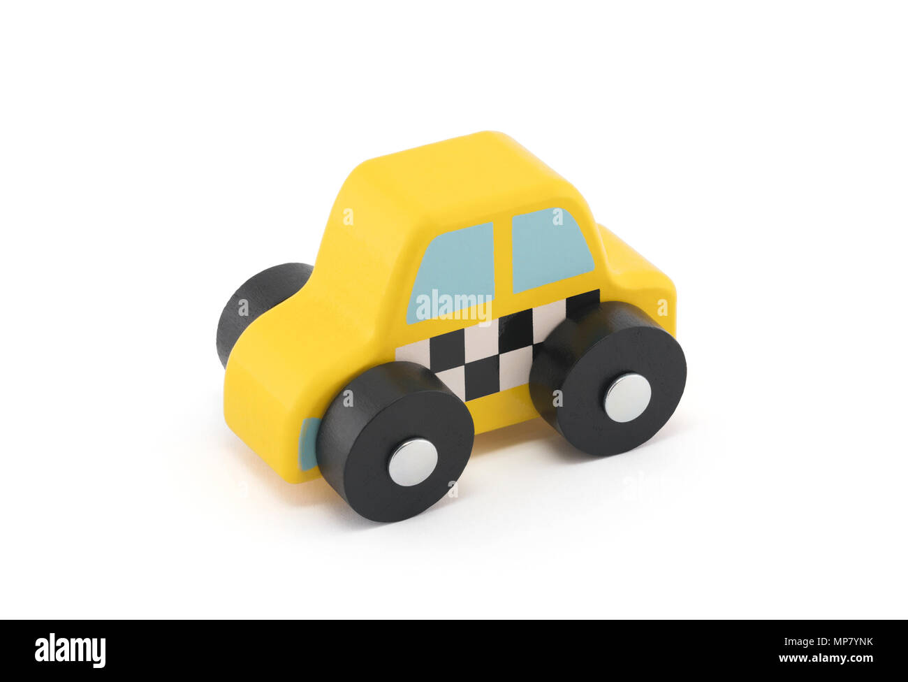 Small wooden taxi car on white background with clipping path - Stock Image