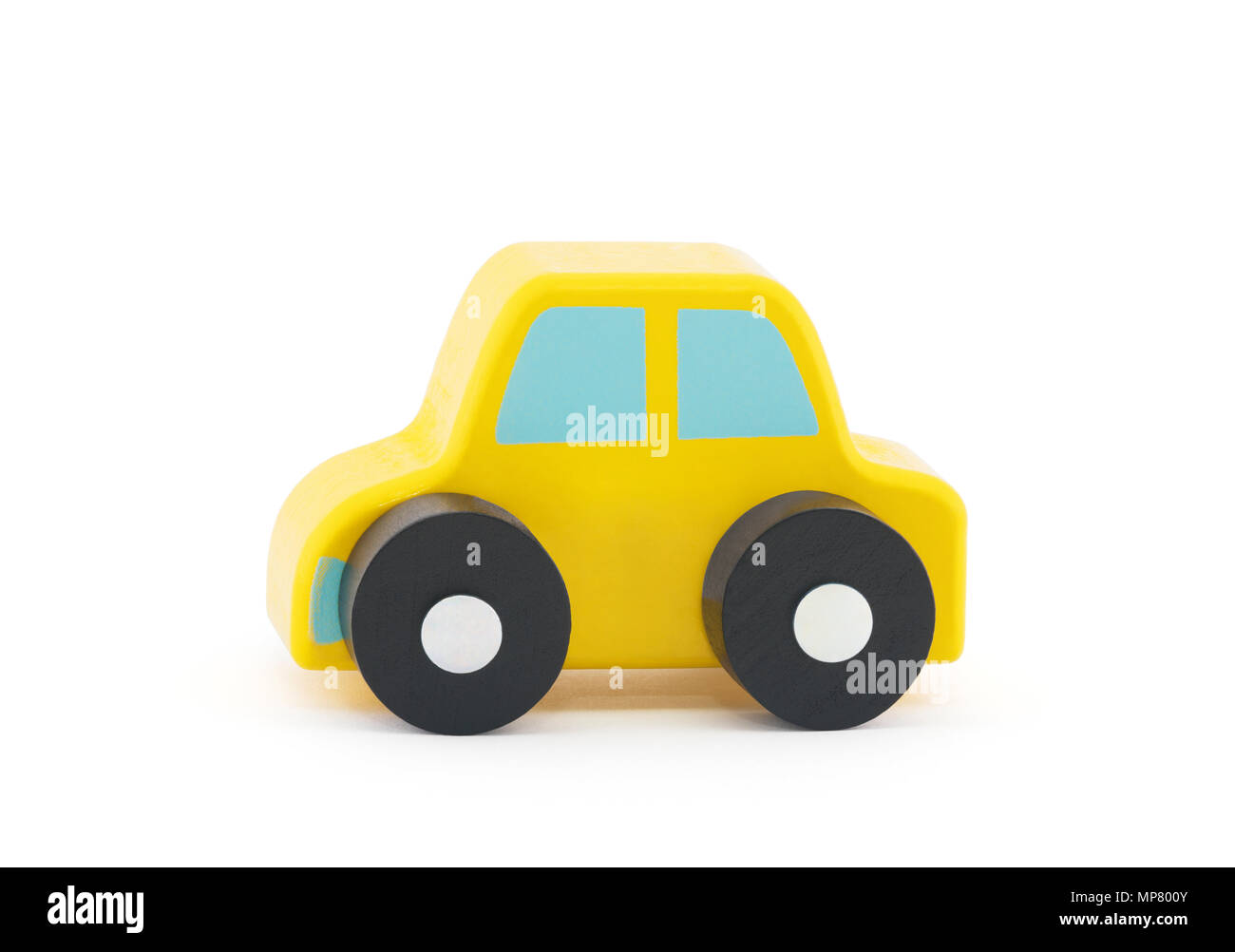 Small wooden toy car on white background with clipping path Stock Photo