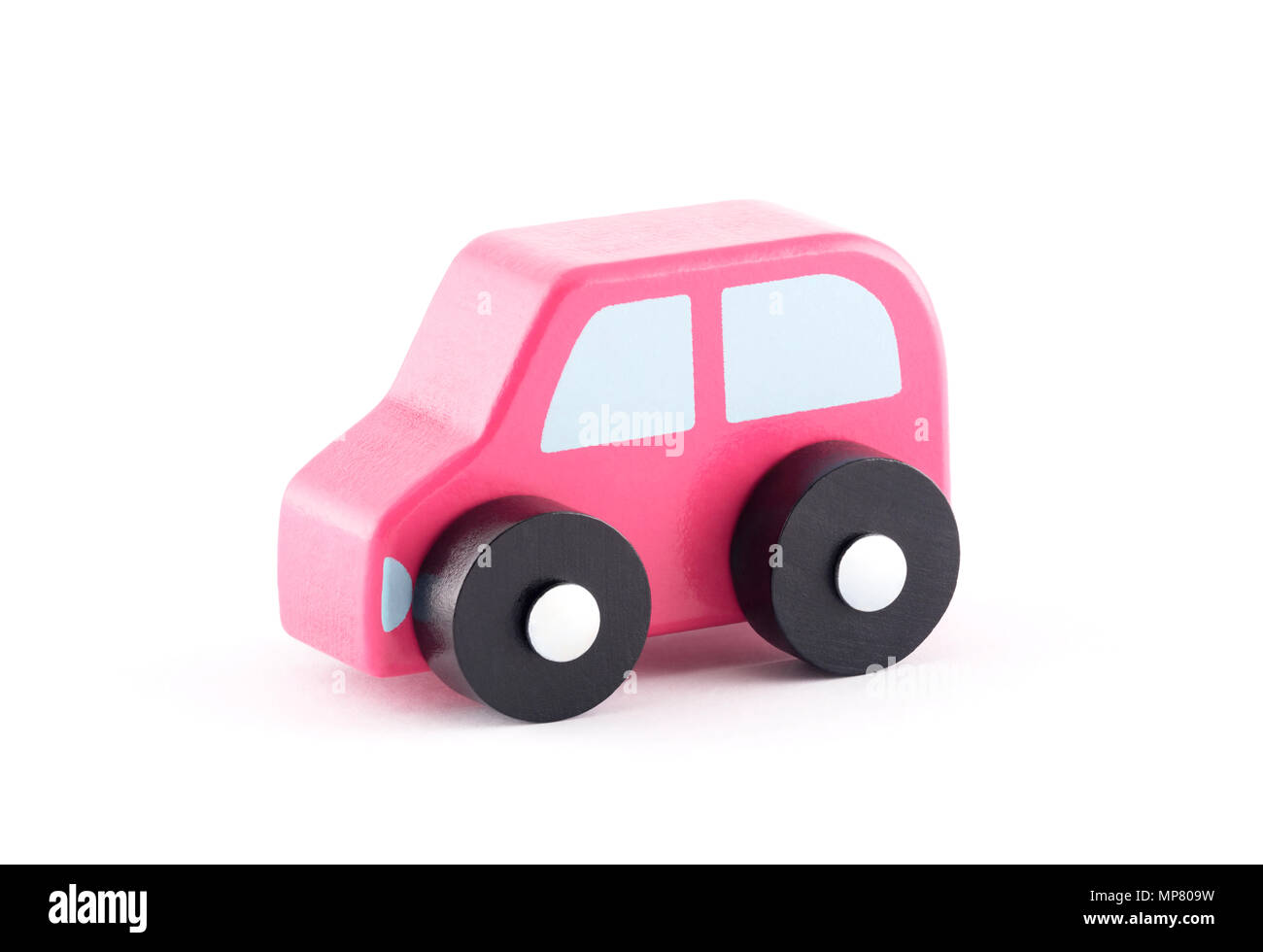 Small wooden toy car on white background with clipping path - Stock Image