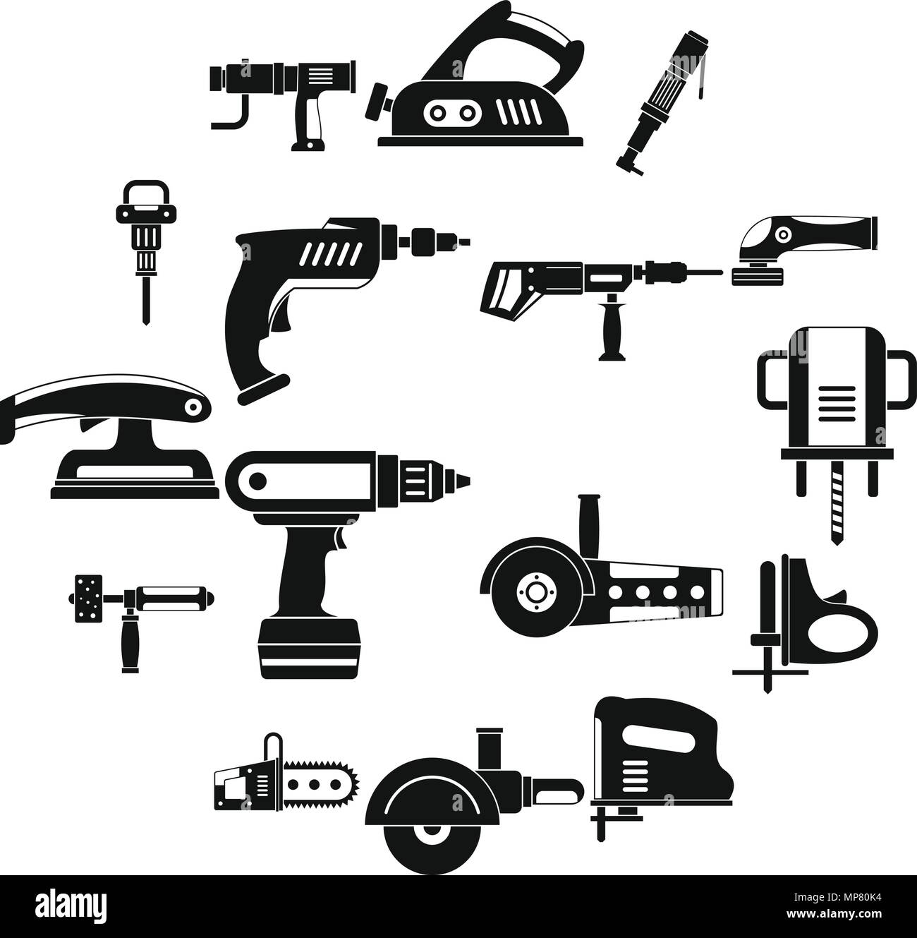 Electric tools icons set, simple style - Stock Image