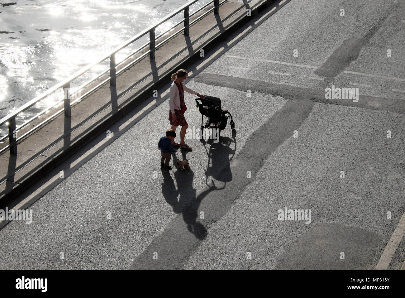 View from above looking down of woman with buggy and toddler with toy puppy dog and shadow walking along the River Seine in Paris France KATHY DEWITT Stock Photo