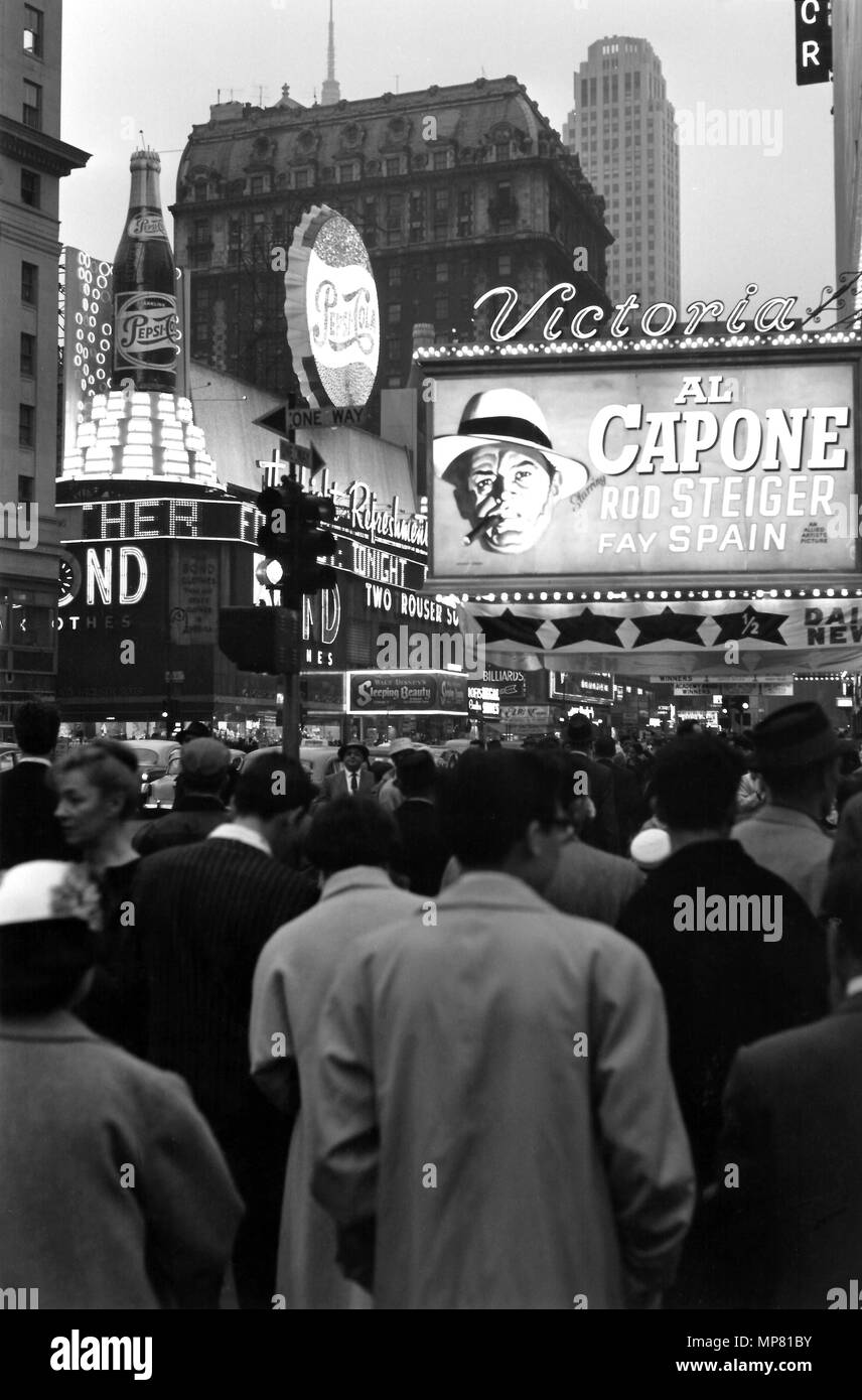 W 42nd Street, theater district, Al Capone movie and signage, 1959, New York City, USA - Stock Image