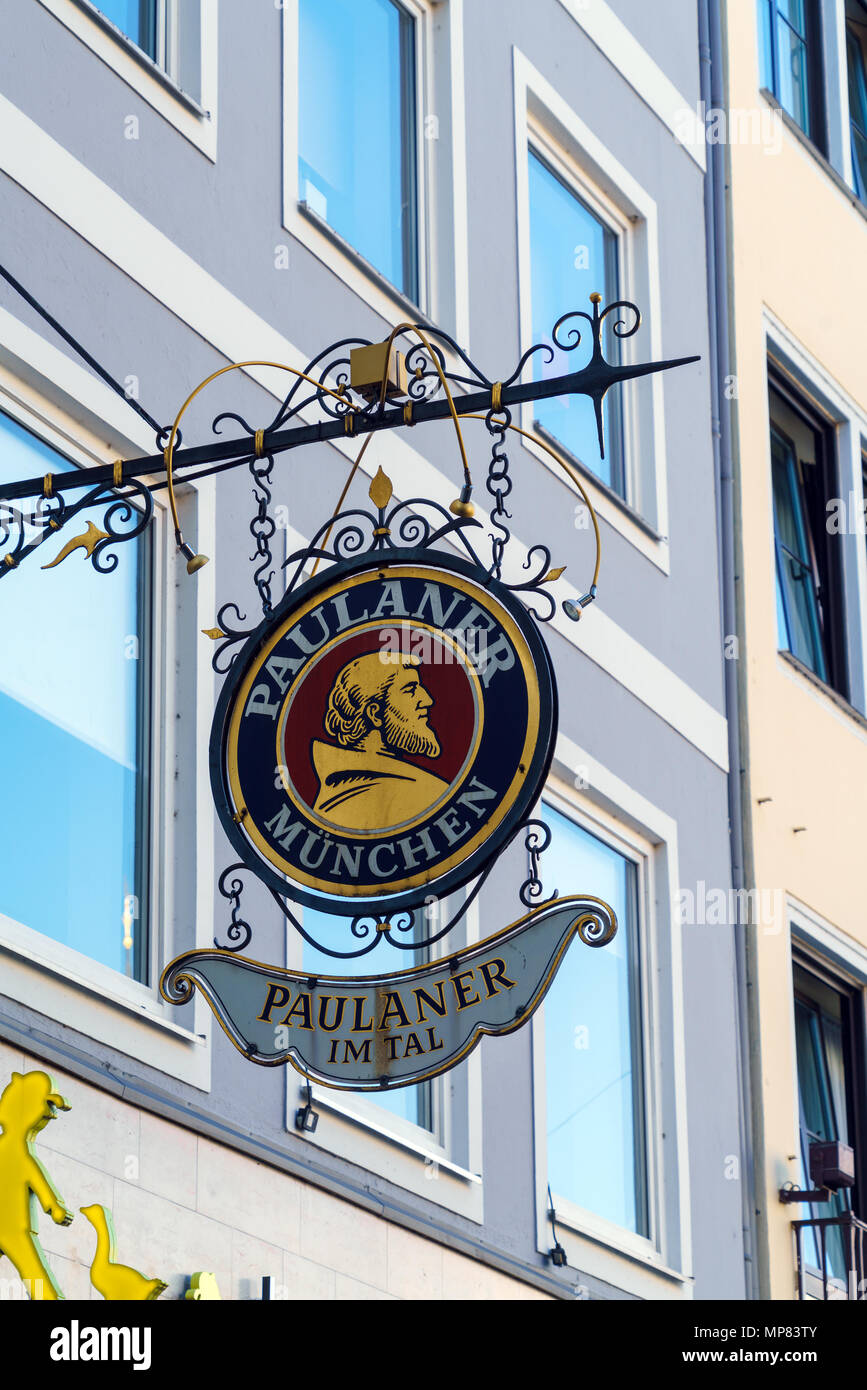 Munich, Germany - October 20, 2017:  A sign of the restaurant of one of the famous Bavarian beer halls Paulaner - Stock Image