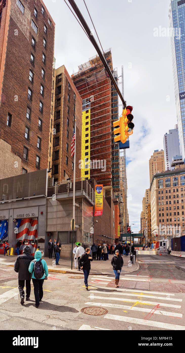 New York, USA - April 24, 2015: Street view In Midtown Manhattan on 24th street, New York City, the USA. Stock Photo