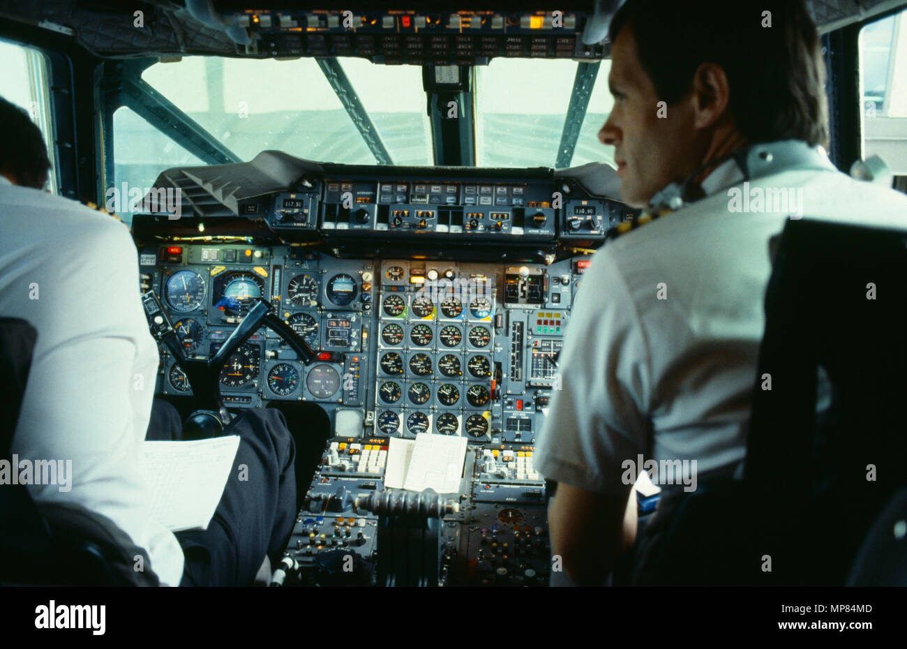 Transport, Air, Cockpit, Concorde flight-deck and pilots. Stock Photo