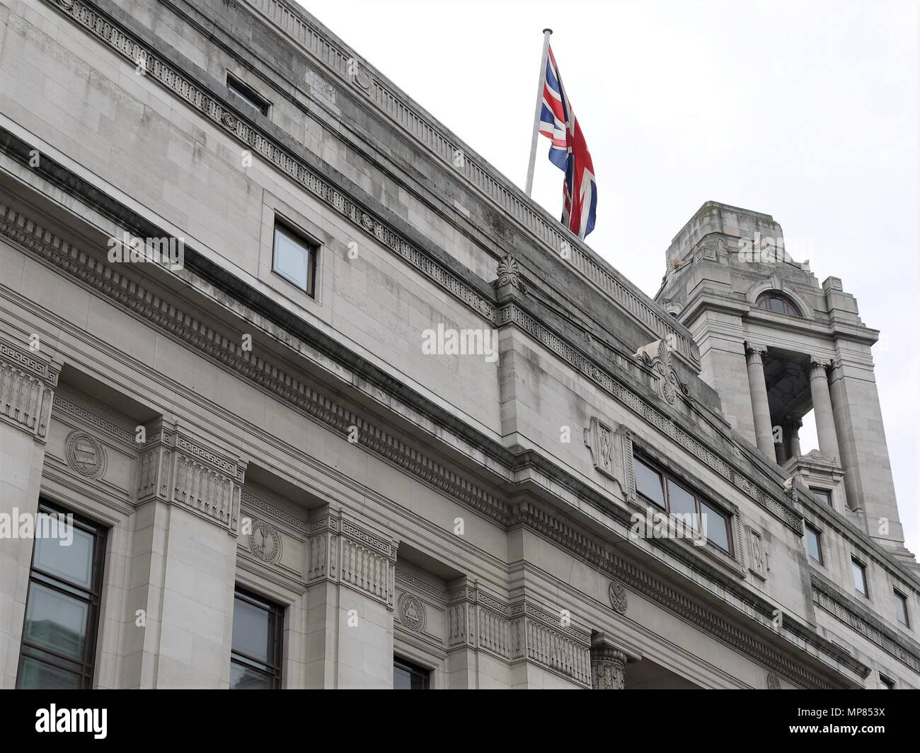 LONDON - MAY 21, 2018: General view of the iconic  Freemason Hall the headquarters of the United Grand Lodge and Supreme Grand Chapter of Royal Arch - Stock Image
