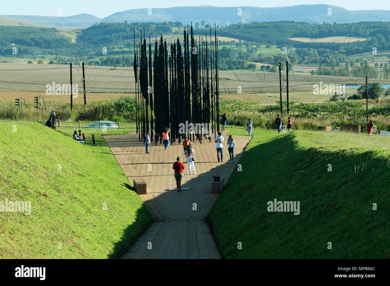 Howick, KwaZulu-Natal, South Africa, visitors viewing iconic statue where Nelson Mandela was arrested by police Stock Photo