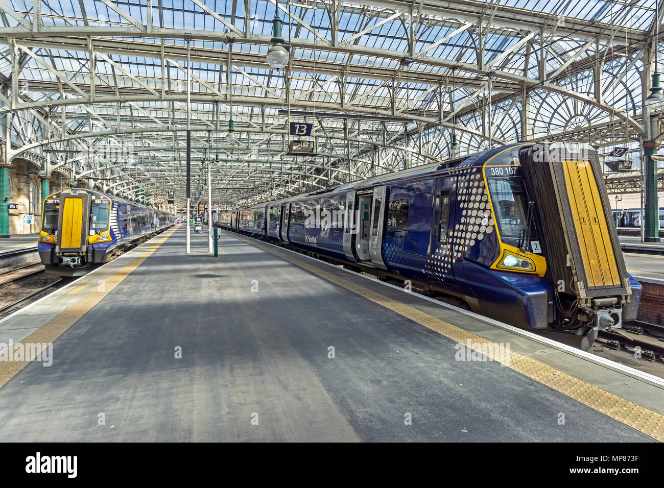 Two Scotrail class 380 Electrical multiple units in Glasgow Central Station Glasgow Scotland UK - Stock Image