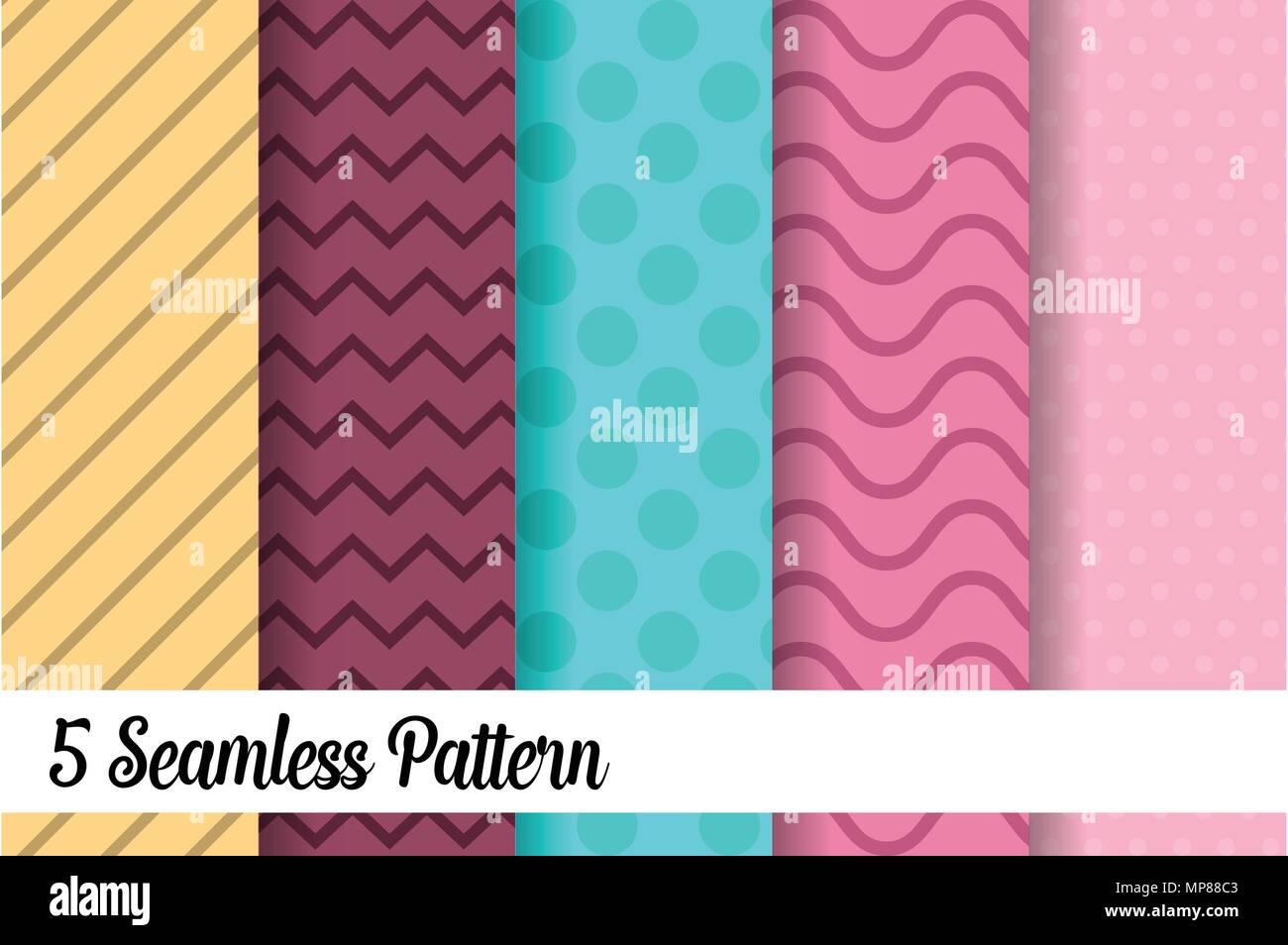 5 seamless pattern set fashion abstract paper art trending artwork - Stock Image