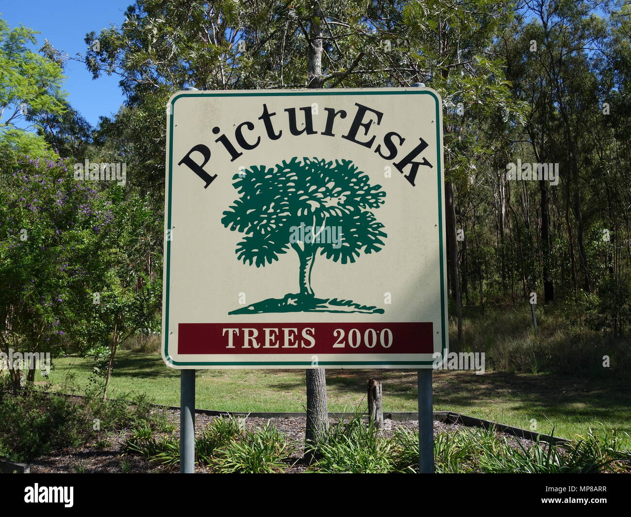 Esk, Queensland, Australia:  February 9, 2018:  The entry sign board into Esk using a play on words to call it PicturEsk. - Stock Image