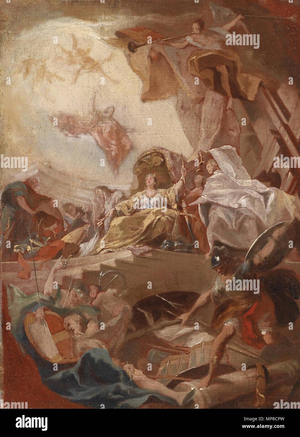 724 Johann Evangelist Holzer (circle) Allegorische Verherrlichung eines Fürstenhauses - Stock Image