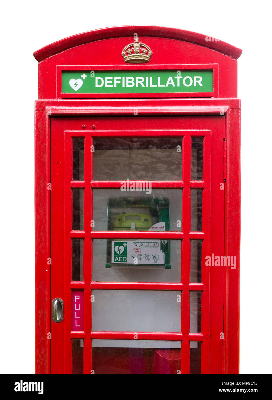 Defibrillator. An old red telephone box being used to house a public defribillator, Sheldon, Derbyshire, England, UK - Stock Image