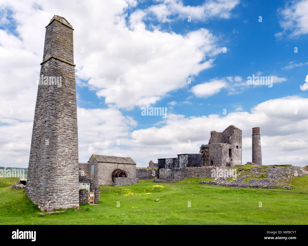 Ruins of the Magpie Mine, an old lead mine which closed in the 1950s, near Sheldon, Peak District, Derbyshire, England, UK - Stock Image