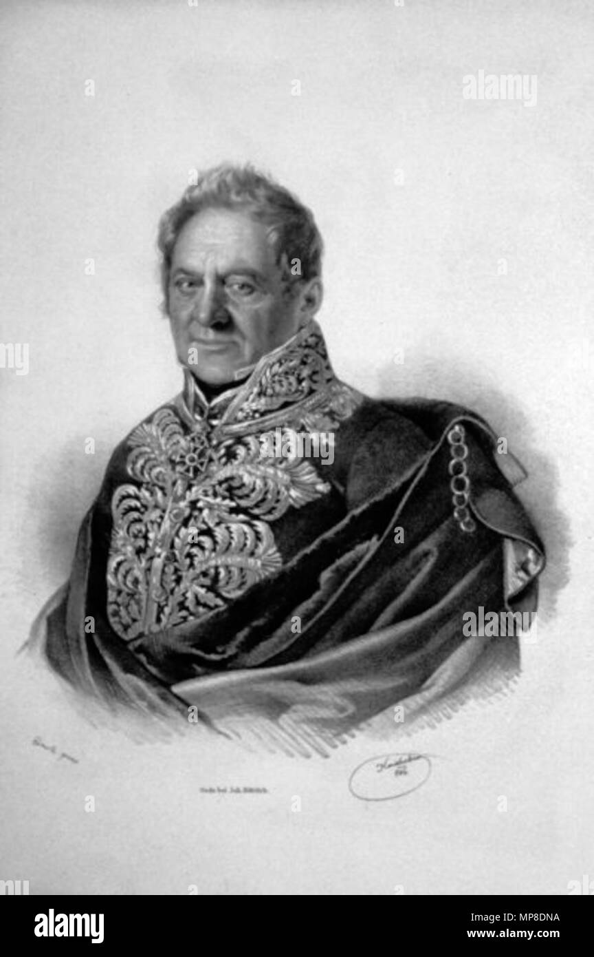 . Deutsch: Johann Freiherr von Aerenthal (1817-1898), Großgrundbesitzer, Lithographie von Josef Kriehuber, 1846 . 1846. Josef Kriehuber (1800-1876) 728 Johann von Aerenthal Litho Stock Photo