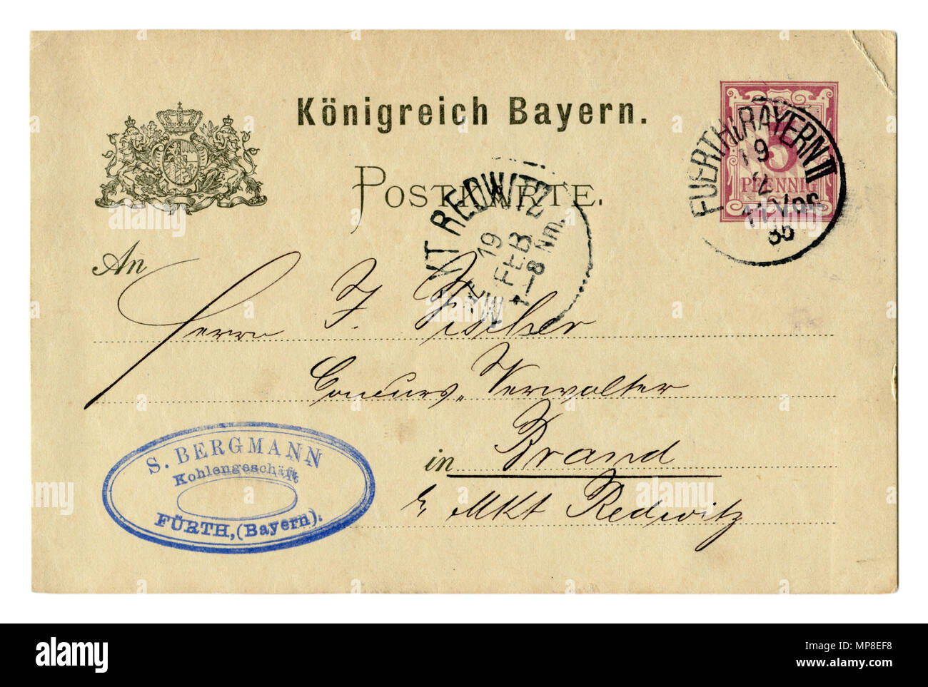 Old postcard of the late 19th century, business letter, Coat of arms, postmark, stamp. 1885, Kingdom of Bavaria, German Empire, Germany - Stock Image